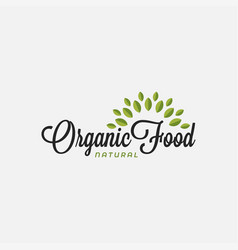 organic food logo food lettering with leafs vector image