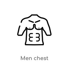 Outline men chest icon isolated black simple line vector