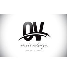 Ov o v letter logo design with swoosh and black vector