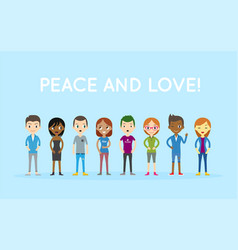 peace and love group of people diversity diverse vector image