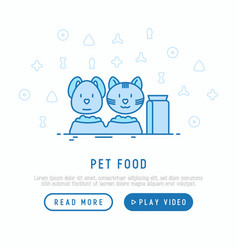 Pet shop web page template with thin line icons vector
