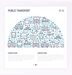 public transport concept in half circle vector image