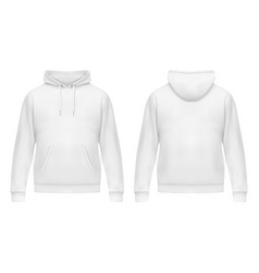 realistic white hoodie or hoody for mansweatshirt vector image