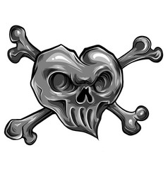 red heart skull design icon vector image