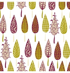 Retro modern trees forest seamless patern vector image