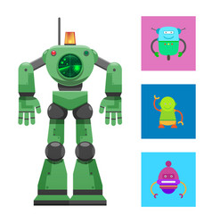 robot with radar collection vector image