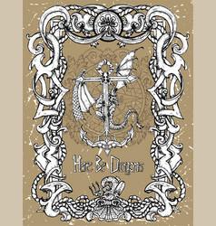 romantic dragon sitting on anchor vector image