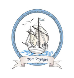 Sailing ship summer holiday bon voyage card sail vector