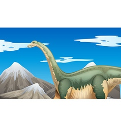 Scene with dinosaur and mountains vector image