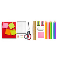 School supplies set realistic crayons vector