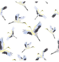 Seamless pattern with white cranes vector