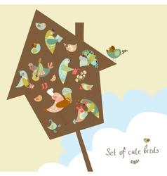 set cute birds in vector image