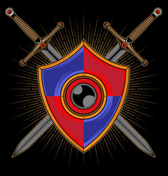 shield and sword logo vector image