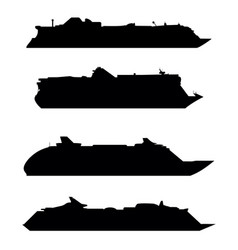 silhouettes large cruise ships vector image
