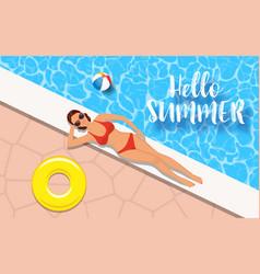 slim woman in bikini relaxing swimming pool vector image
