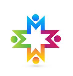Social media people holding hands logo vector