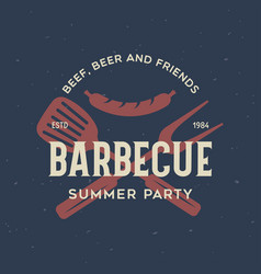 Steak house barbecue bbq party restaurant logo vector