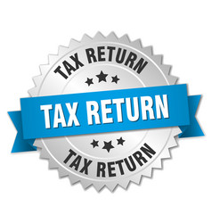 tax return 3d silver badge with blue ribbon vector image