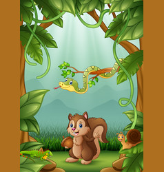 the animals happy an activity in jungle vector image