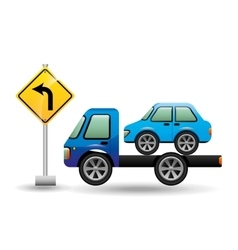 truck crane and car with road sign vector image