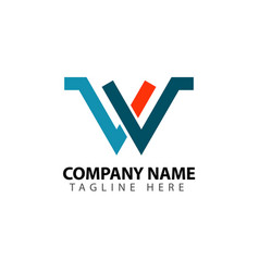 W company logo template design vector