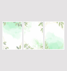 watercolor leafs with golden frame background vector image