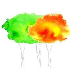 Watercolor tree vector