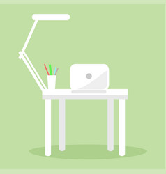 white notebook table lamp and several pencil pens vector image