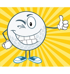 Winking Golf Ball Holding A Thumb Up vector image