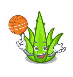 With basketball aloevera character cartoon style vector