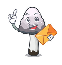 With envelope shaggy mane mushroom character vector