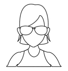 woman face with sunglasses vector image