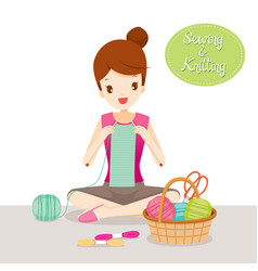Woman knitting scarf vector