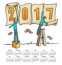 2017 Sign Men calendar vector image vector image