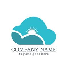cloud shine technology company logo vector image