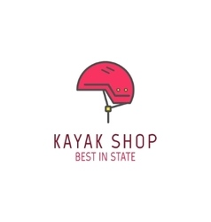 Cute minimal kayak shop icon logo label or line vector image vector image