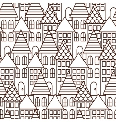 Outline coloring cityscape seamless pattern vector image