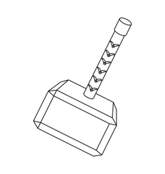 Viking battle hammer icon in outline style vector image vector image