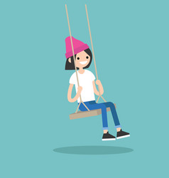 young nerd sitting on the swing editable flat vector image vector image