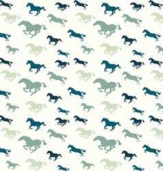 Horses blue pattern vector image vector image