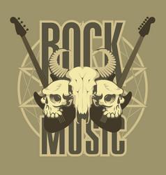 music emblem with skulls guitars and pentagram vector image