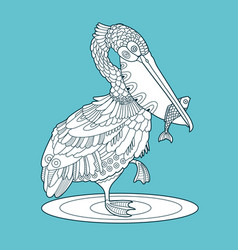 pelican bird with fish color vector image