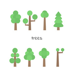 set of simple trees flat trees isolated on white vector image
