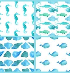 Set of watercolor marine boundless patterns vector image vector image