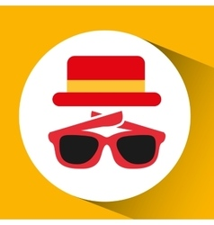 Travel tourist hat concept sunglasses accesorie vector