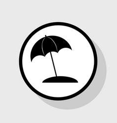 umbrella and sun lounger sign flat black vector image vector image