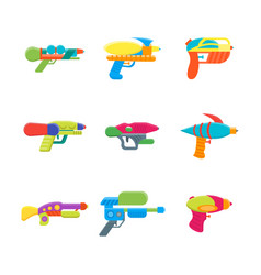 cartoon toy water guns color icons set vector image