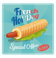 French Hot Dog Poster vector image