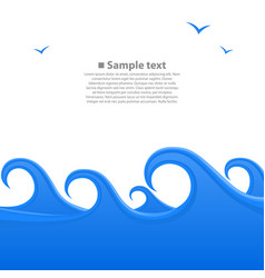 sea waves cover space for text white background vector image vector image