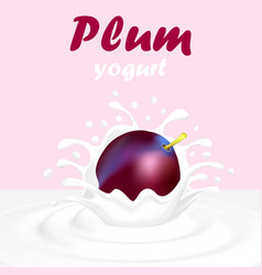 a splash of yogurt from a falling plum and a drop vector image vector image